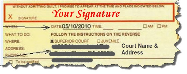 Signing your traffic ticket